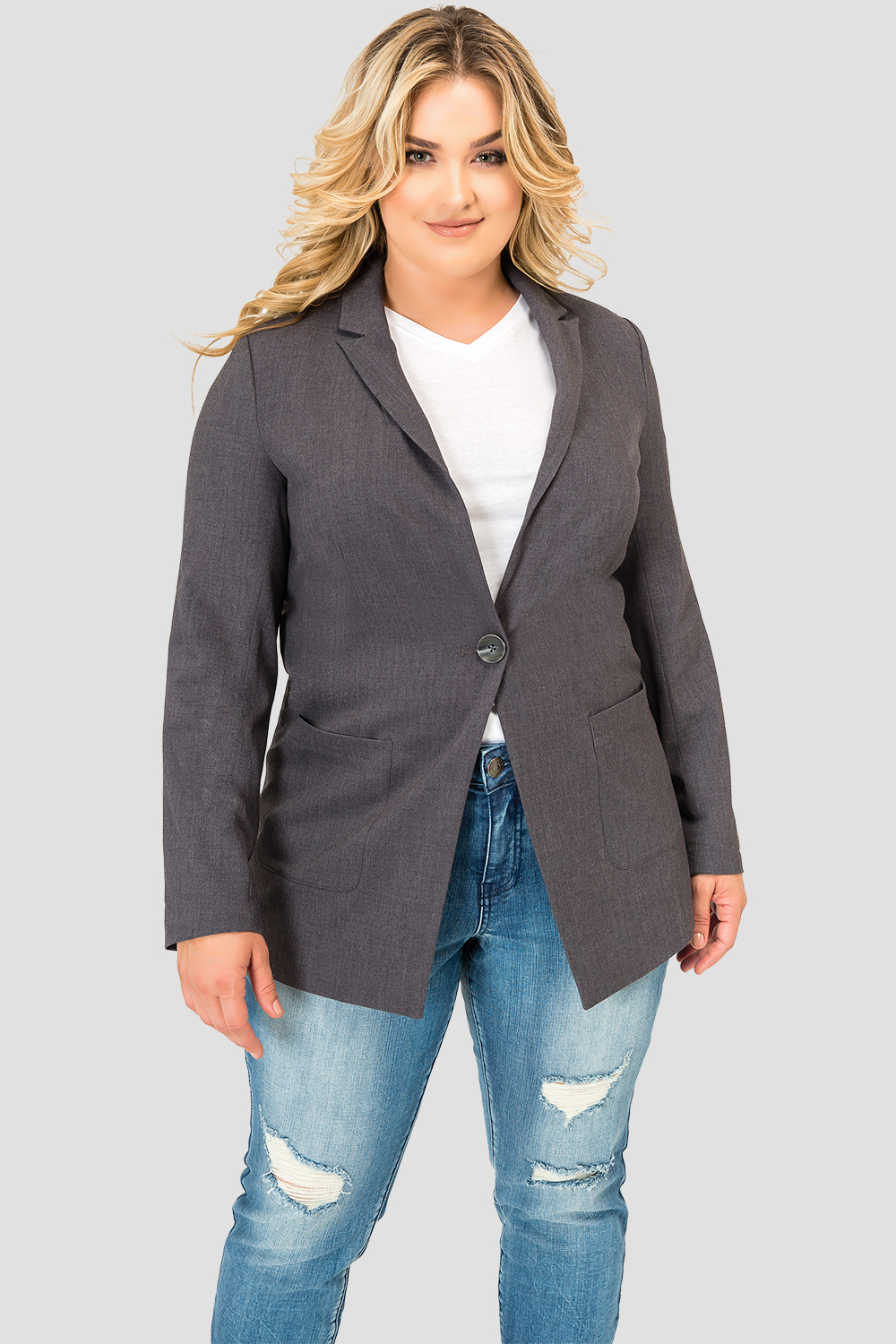 Plus Size Standards & Practices Women's Plaid Gray Boyfriend Blazer
