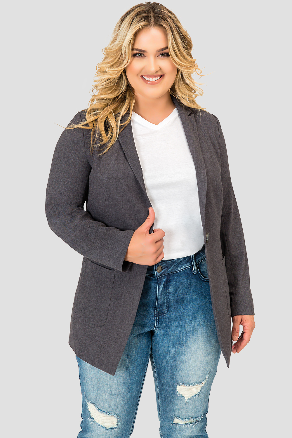 Plus Size Standards & Practices Women's Curvy Fit Plaid Gray Boyfriend Blazer