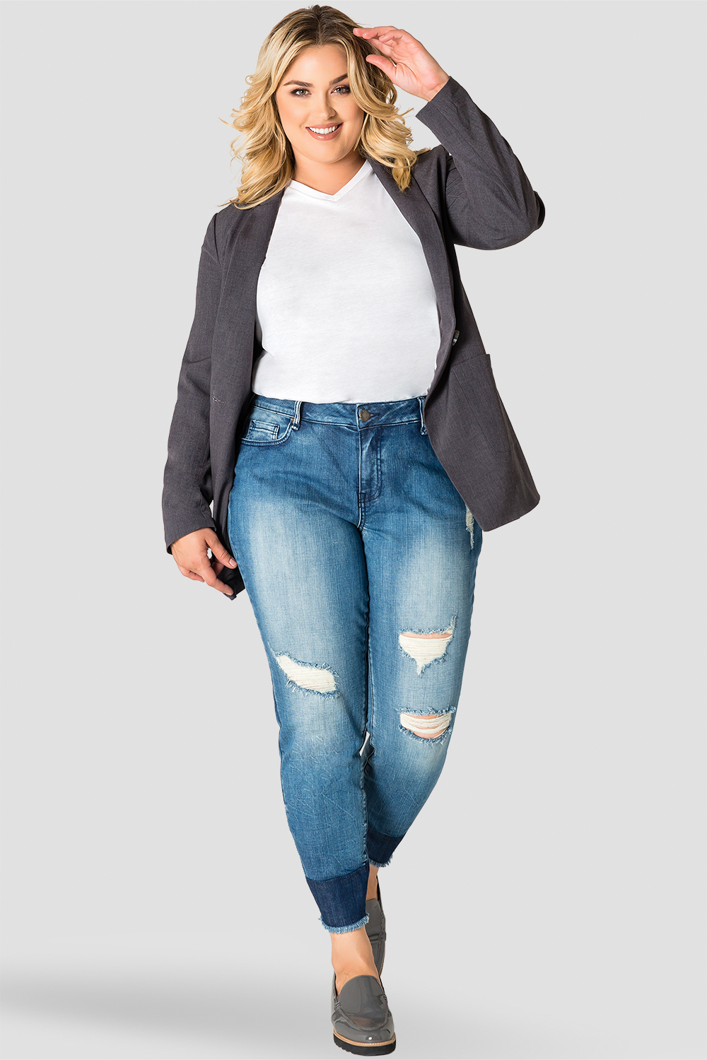 Plus Size Standards & Practices Plaid Gray Boyfriend Blazer