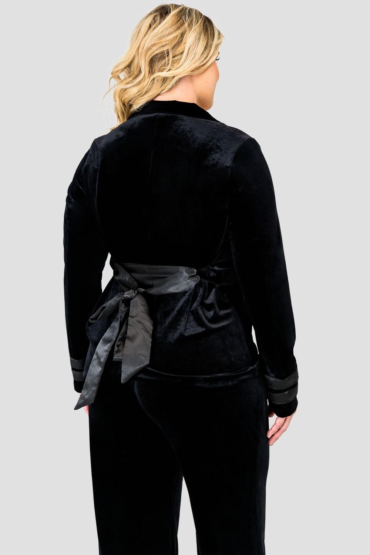 Standards & Practices Plus Size Stretch Velvet Wrap Smoking Jacket with Satin Lapel and Satin Belt