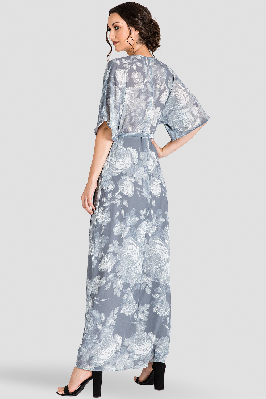 Women's Gray Floral Kimono Wrap Maxi Dress