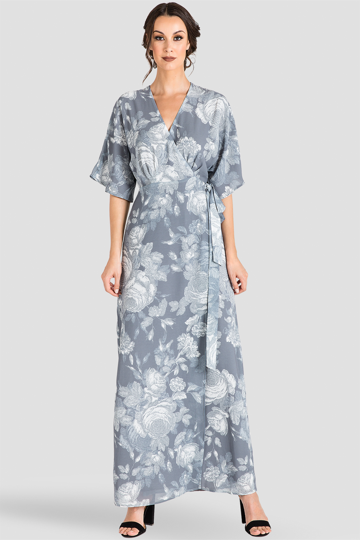 Gray Floral Chiffon Kimono Maxi Dress