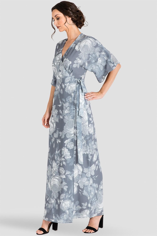 Standards & Practices Gray Floral Print Chiffon Kimono Wrap Maxi Dress