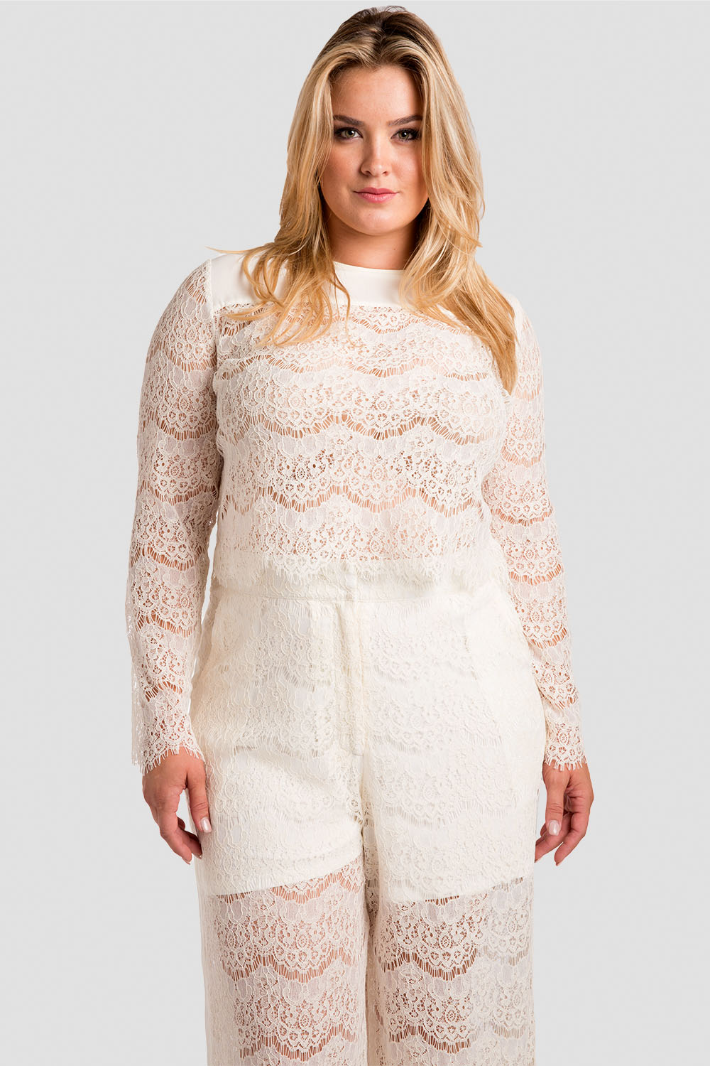 Plus Size Women's Ivory Lace Skimmer Top