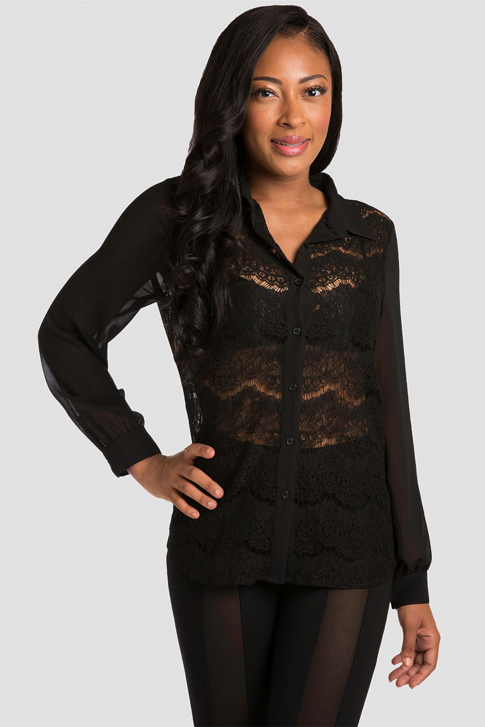 Black Lace Collared Shirt