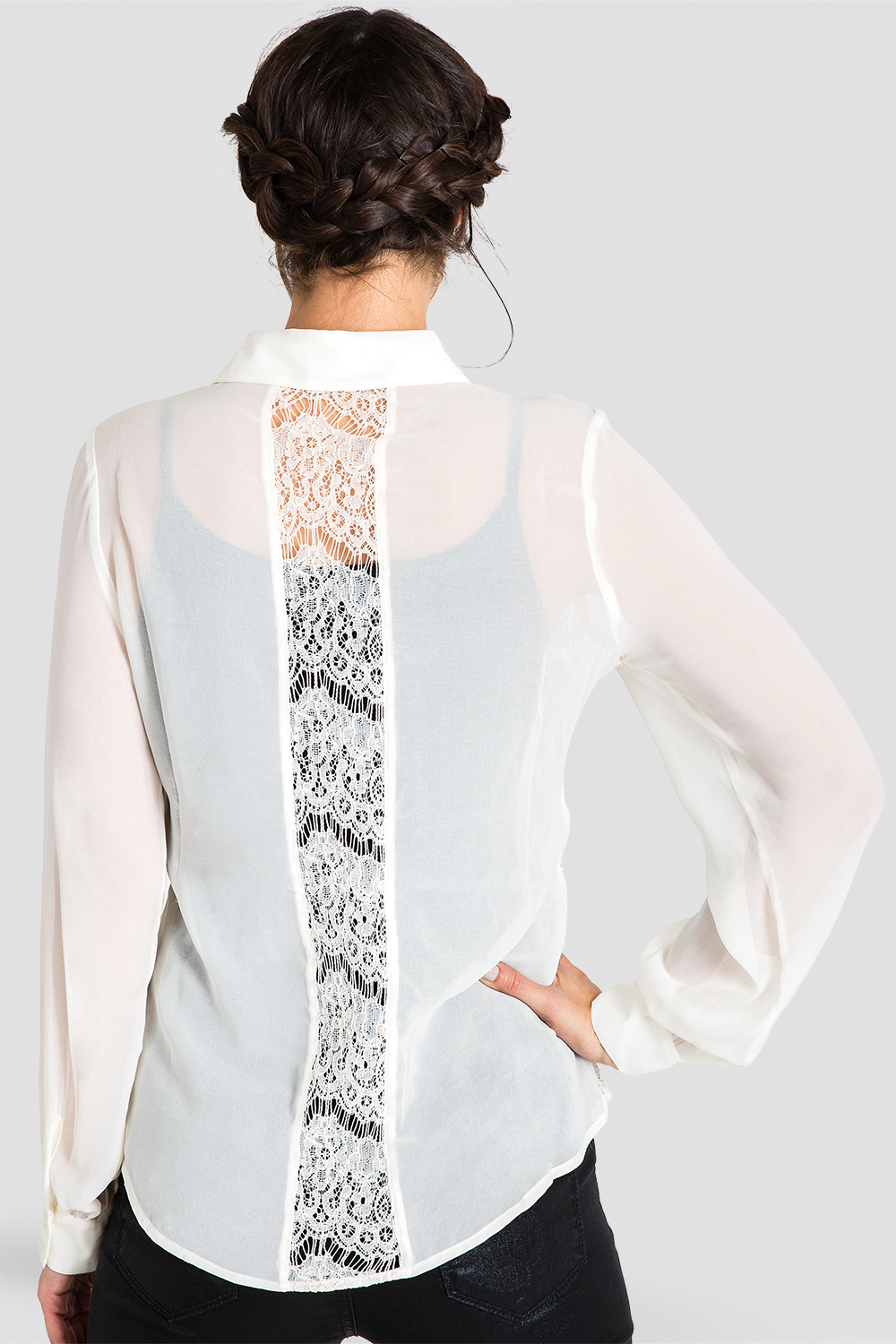 Women's Ivory Collared Shirt Lace