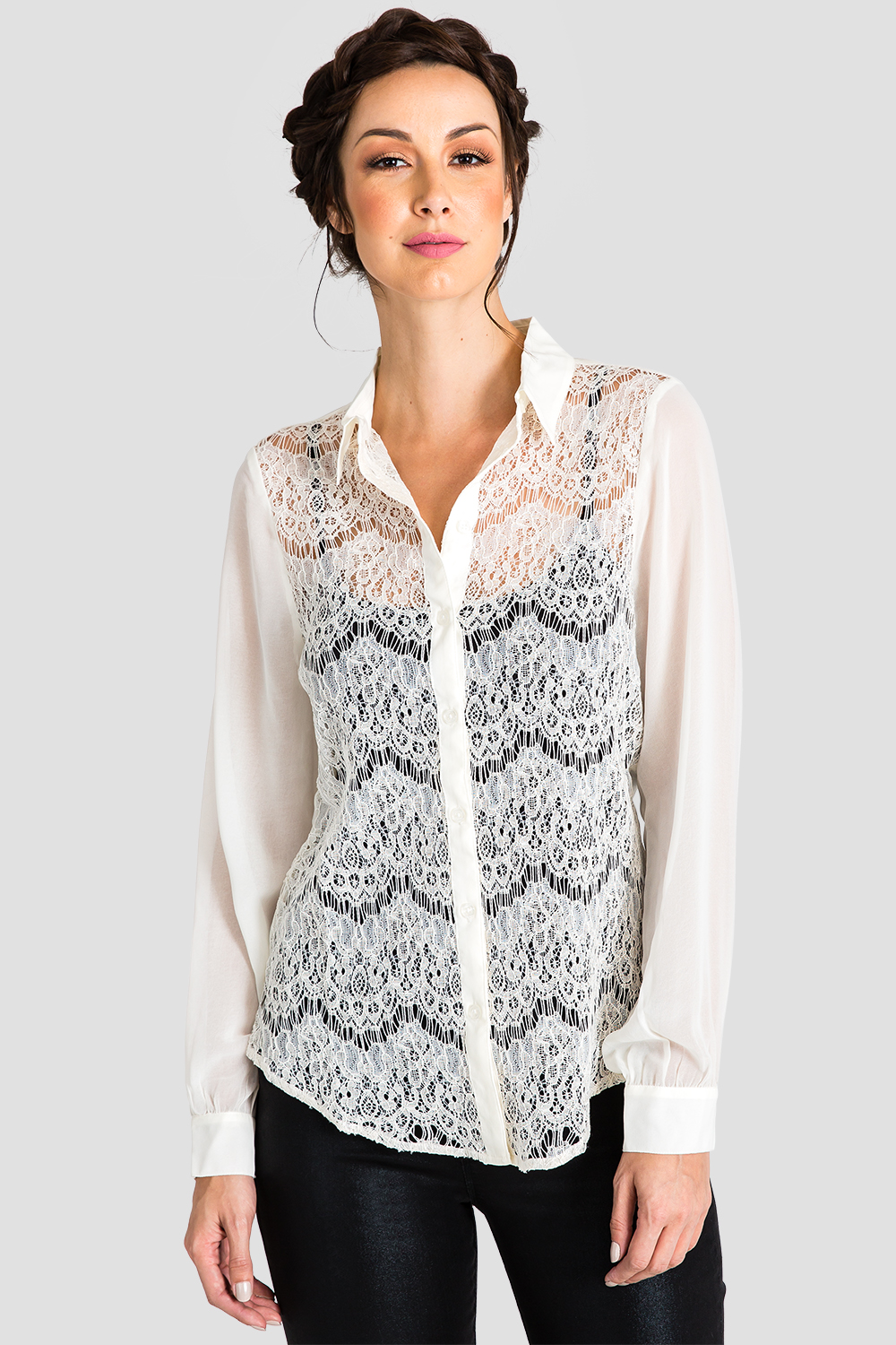 Ivory Lace Collared Top