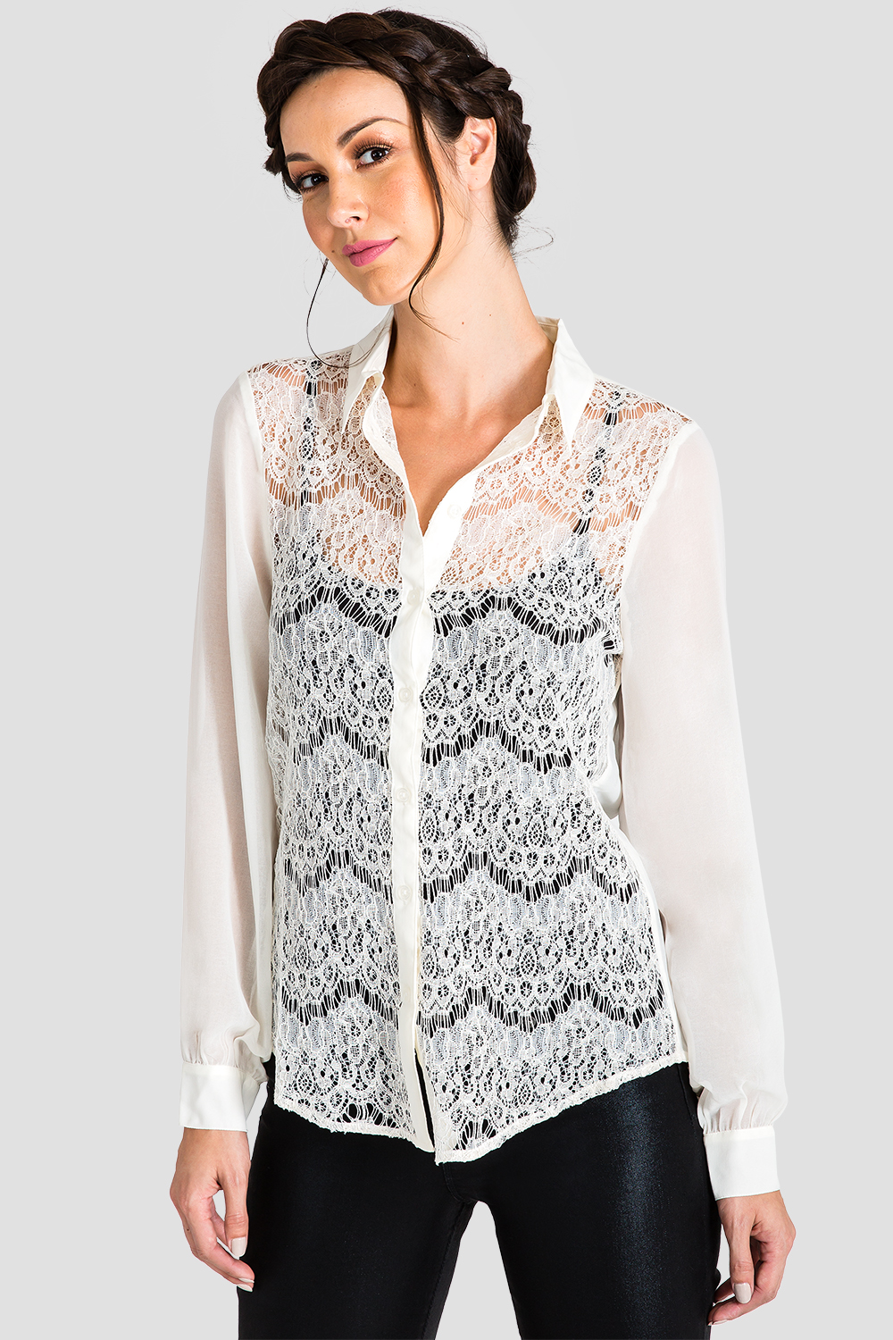 Ivory Women's Button-Up Lace Shirt
