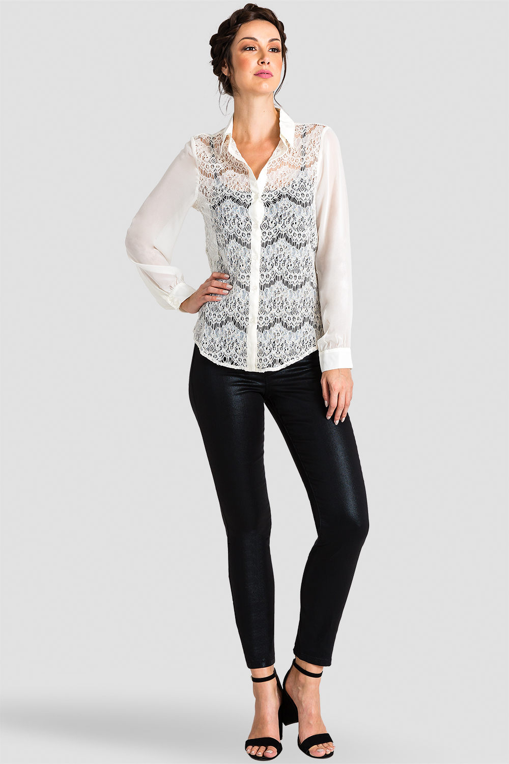 Ivory Lace Collared Top detail