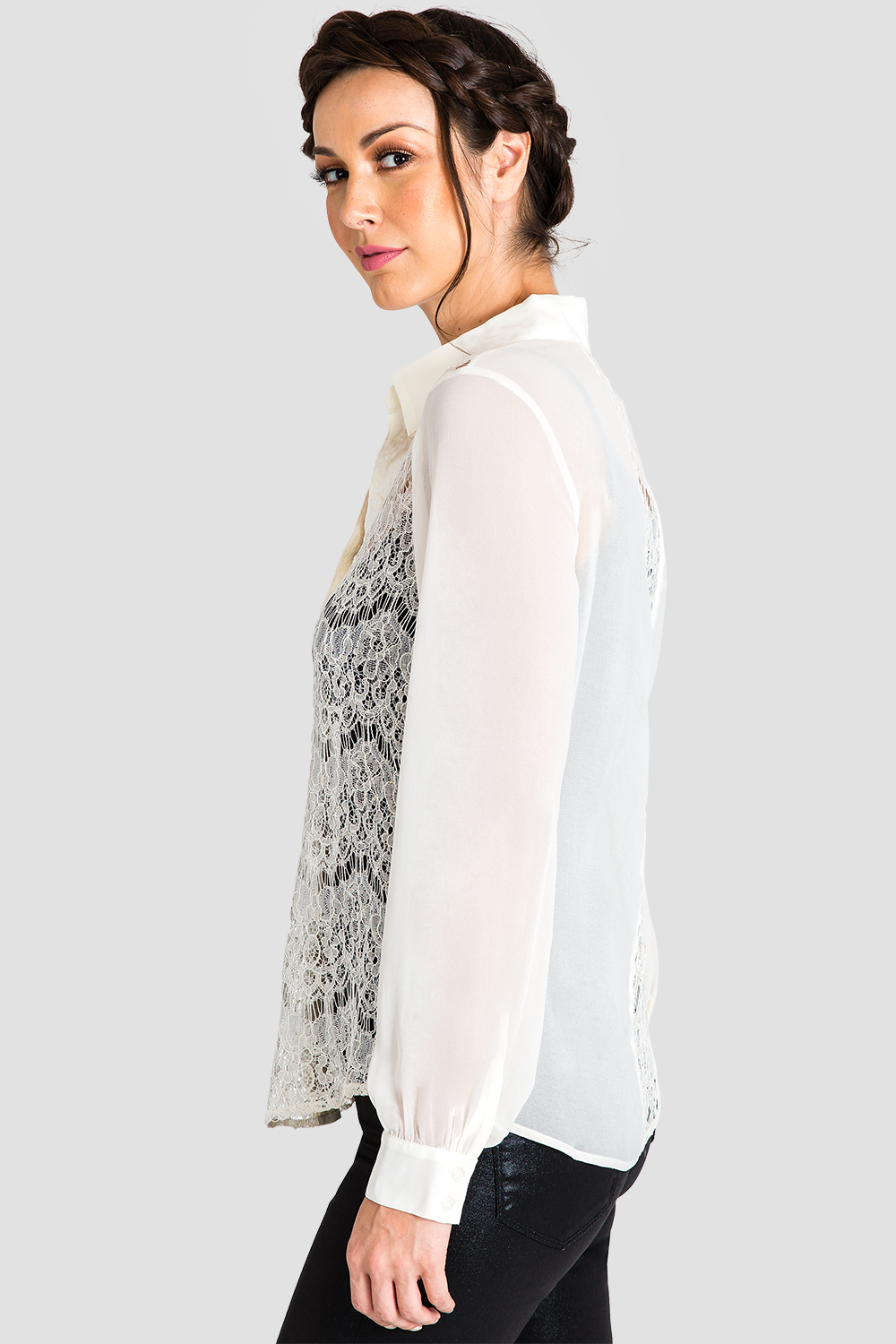 Women's Button-Up Collared Shirt White Lace