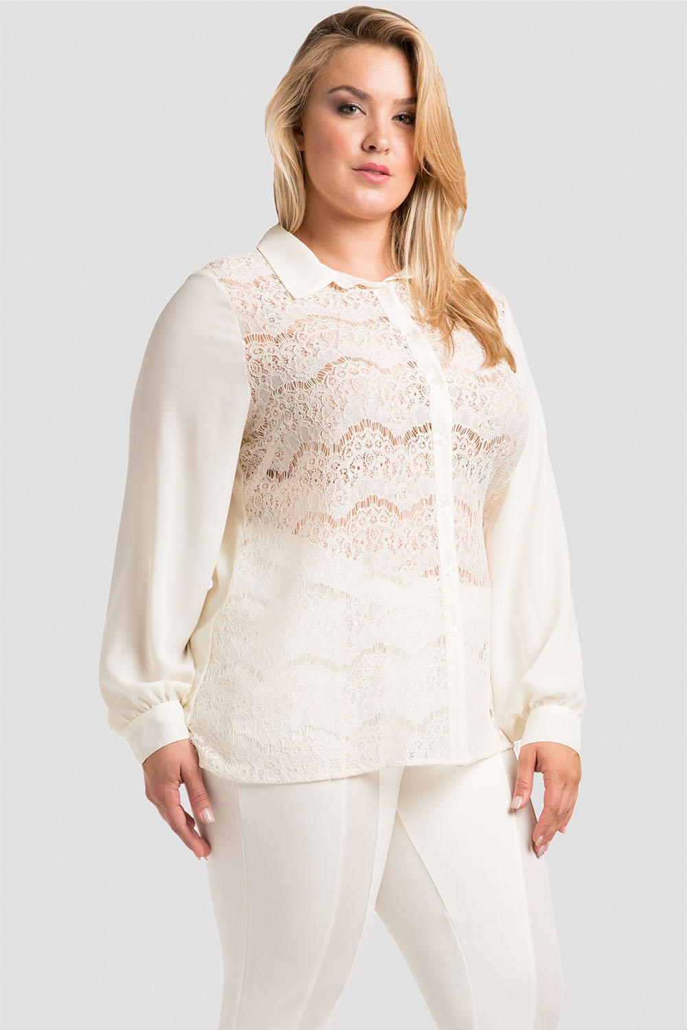 Plus Size Women's Button-Up Collared Shirt White Lace
