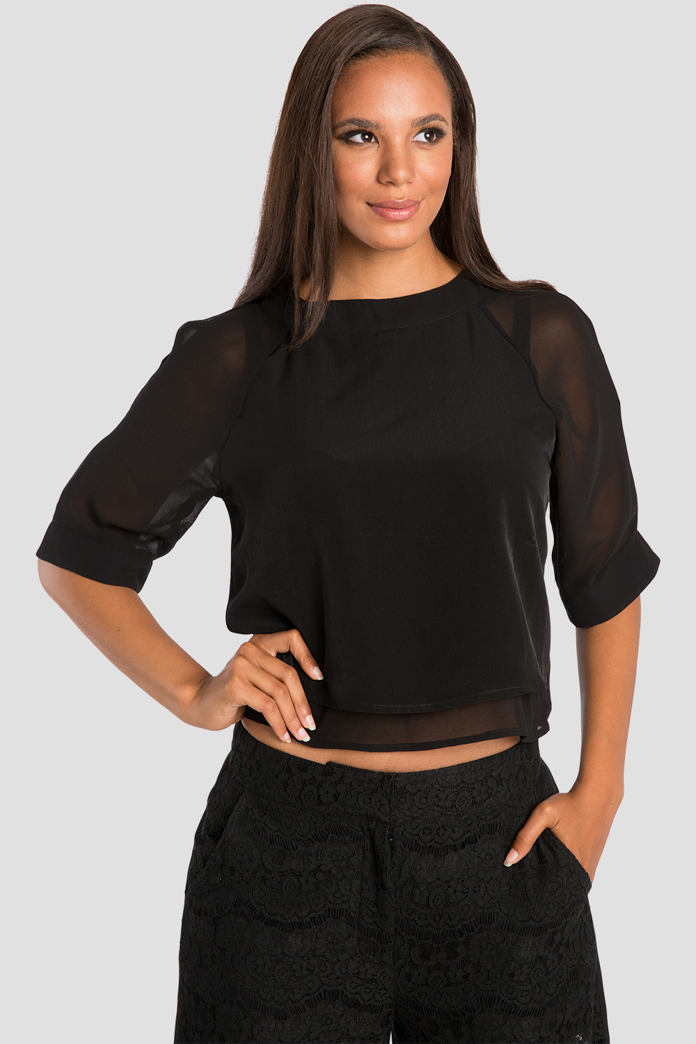Sheer Layered Milla Chiffon Skimmer Shirt