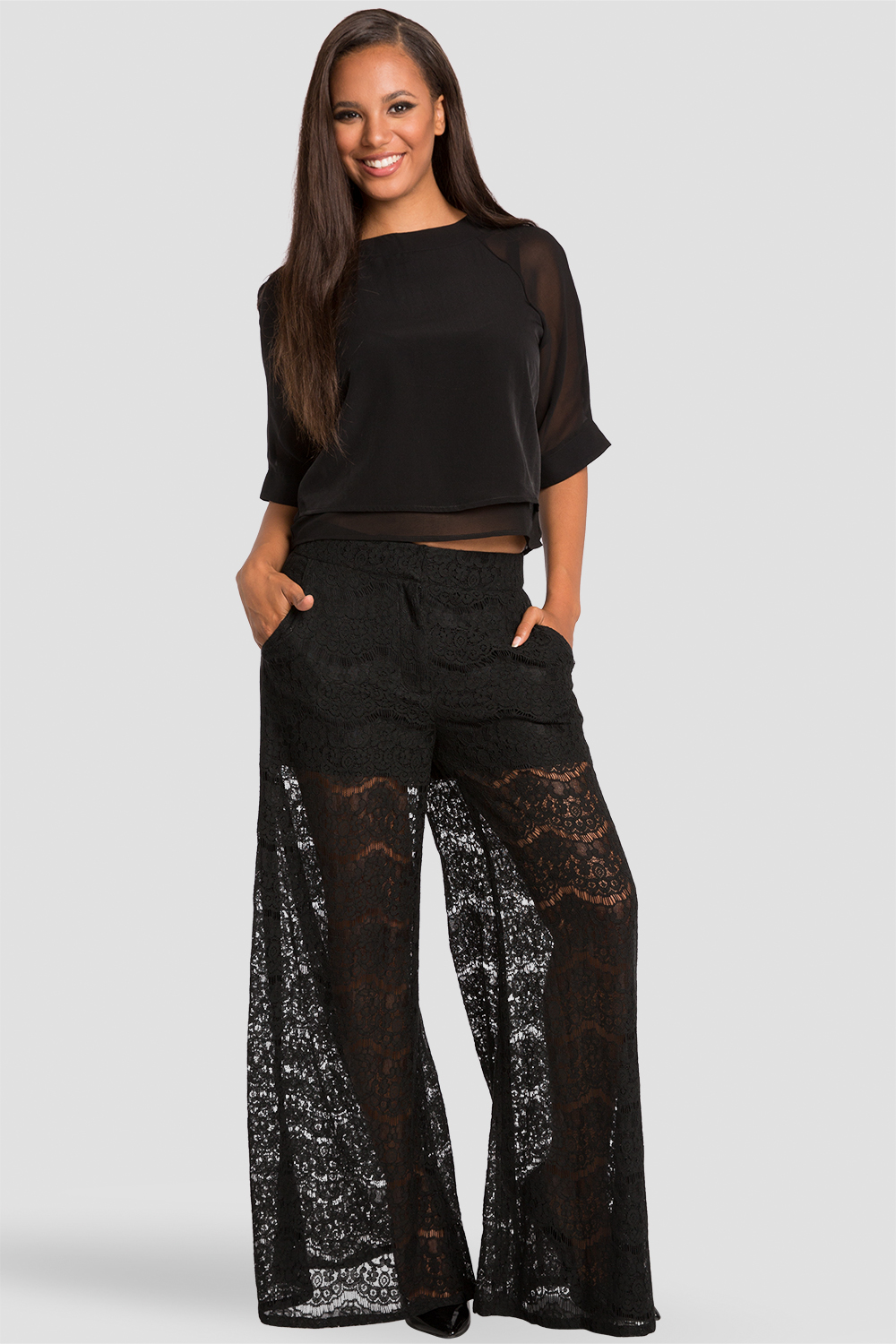 Sheer Layered Black Chiffon Skimmer Top