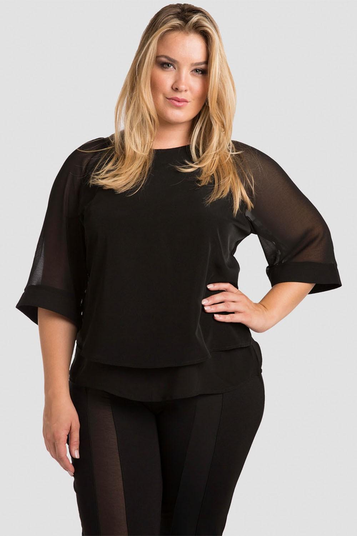 Plus Size Sheer Layered Black Chiffon Skimmer Top