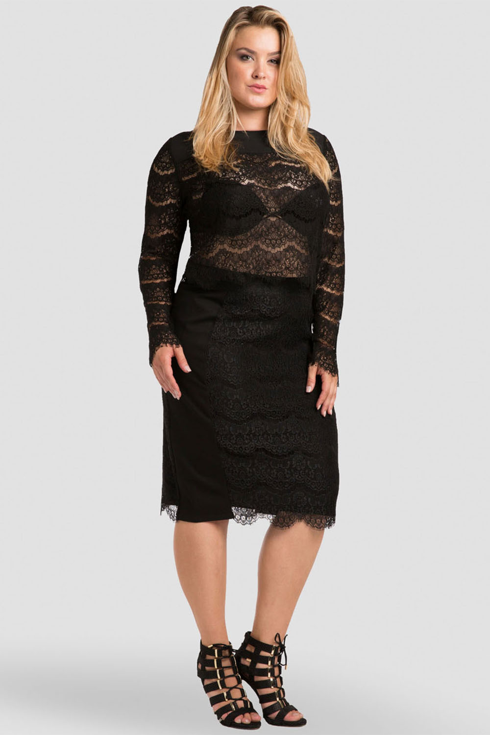 Women plus size black lace midi skirt