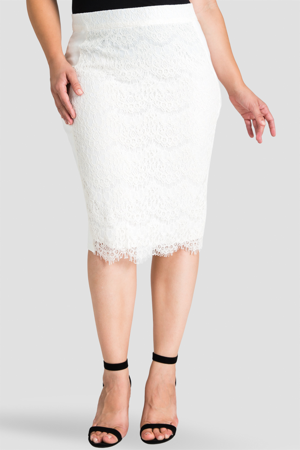Plus size white lace midi skirt