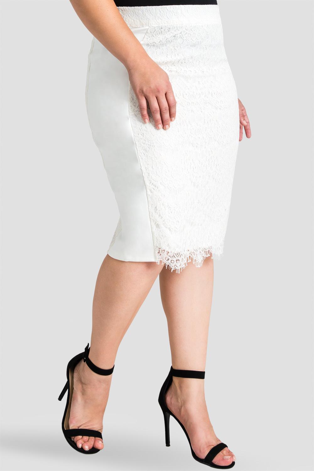 Plus size tori white lace pencil skirt