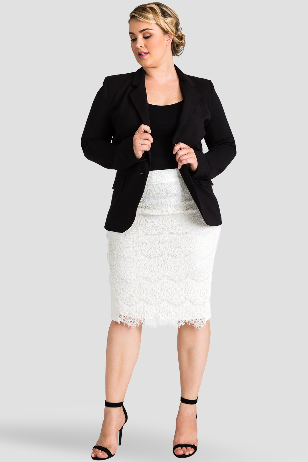 Plus size Ivory ponte and knee-length pencil skirt