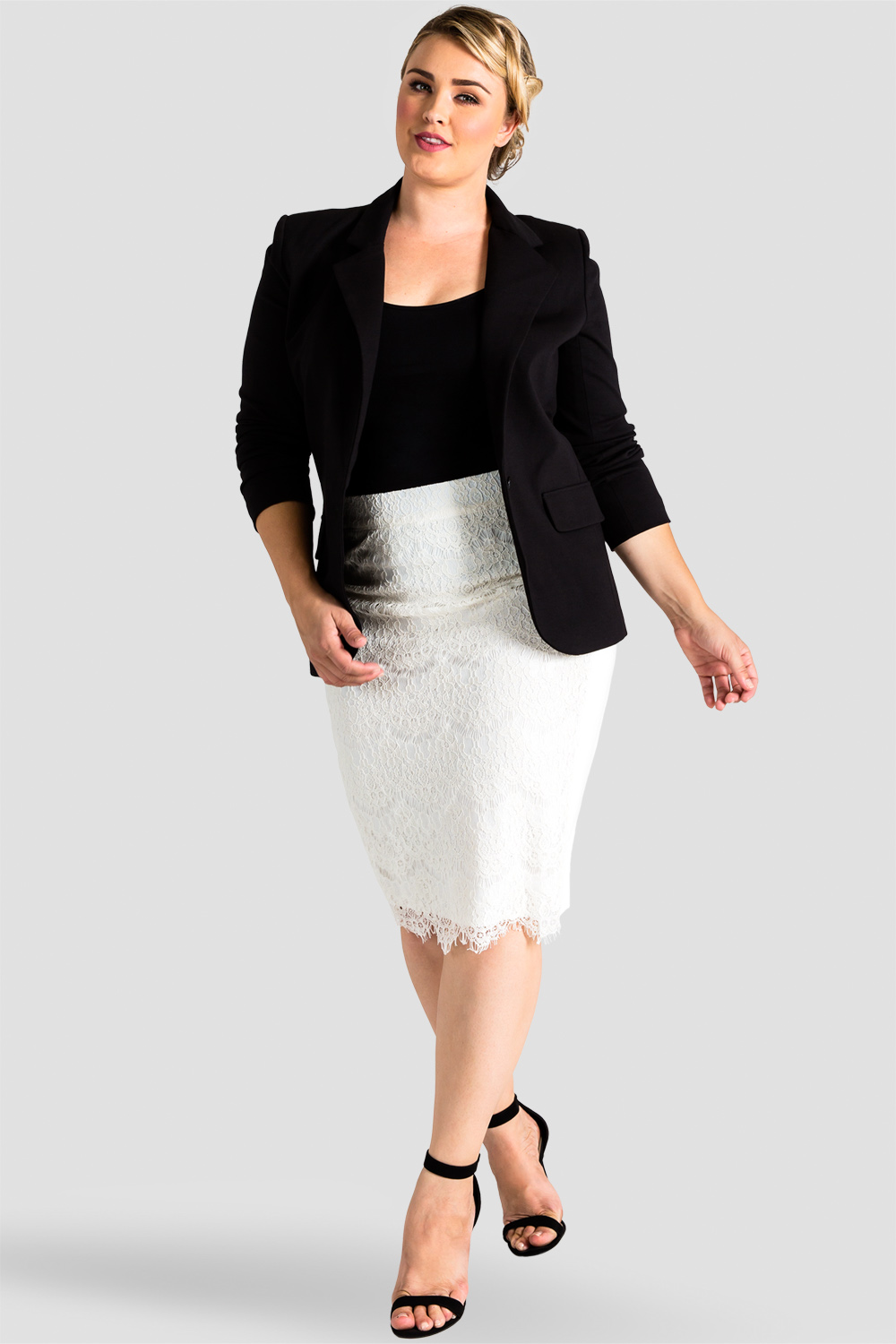 Plus size white lace and ponte pencil skirt