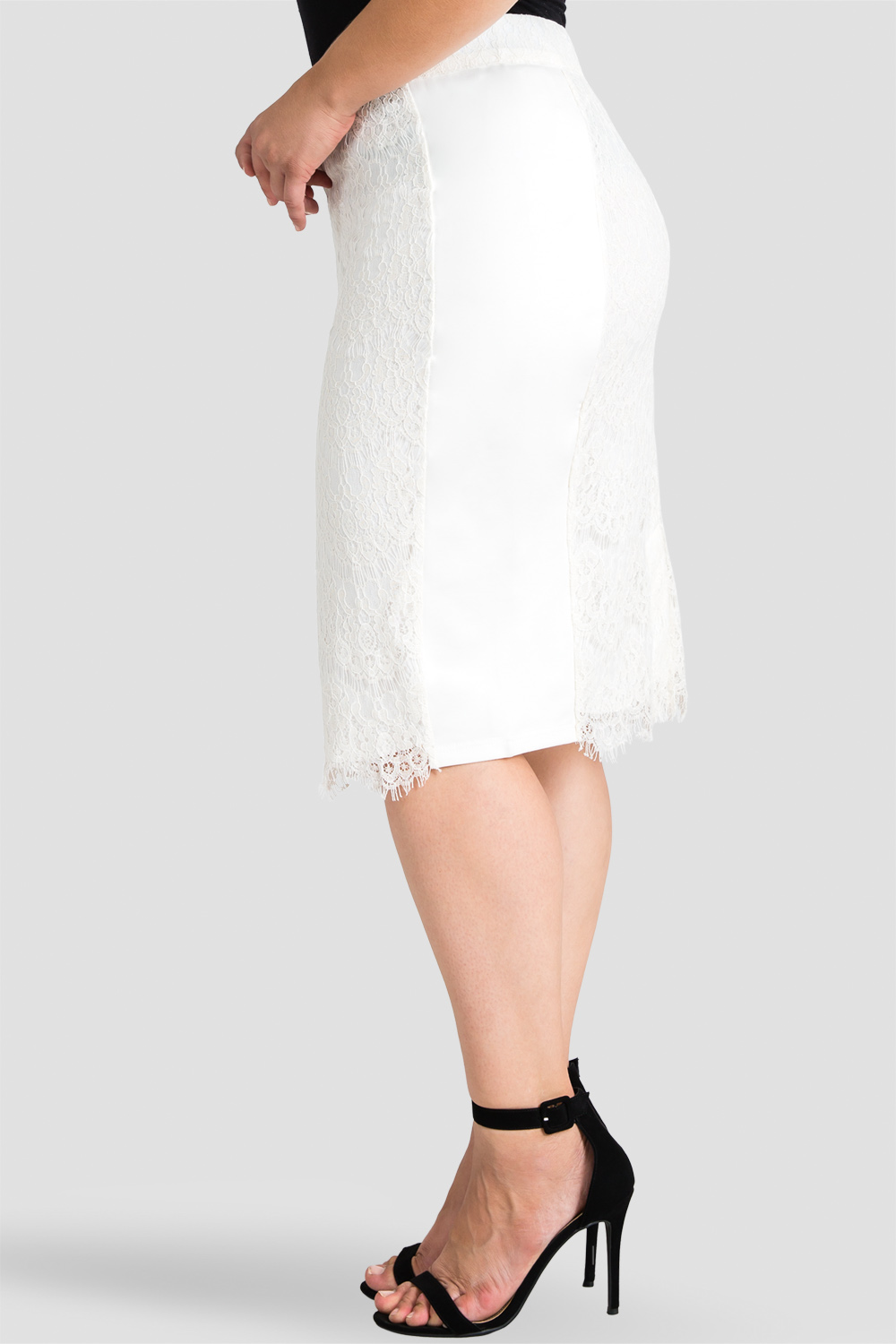 Plus size cream lace pencil skirt