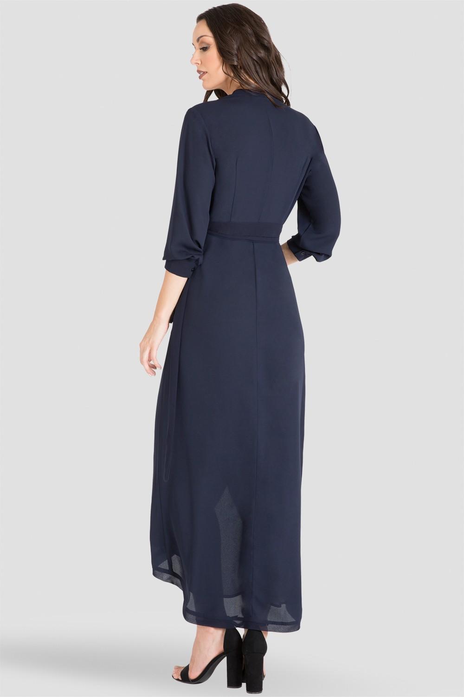 Midnight / Navy Blue V-Neck Tulip Asymmetrical Wrap Dress