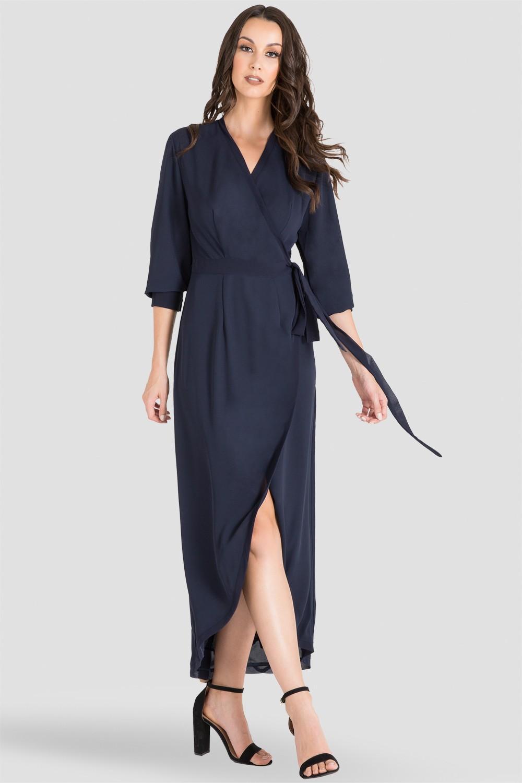 Midnight / Navy Blue V-Neck TulipWrap Dress