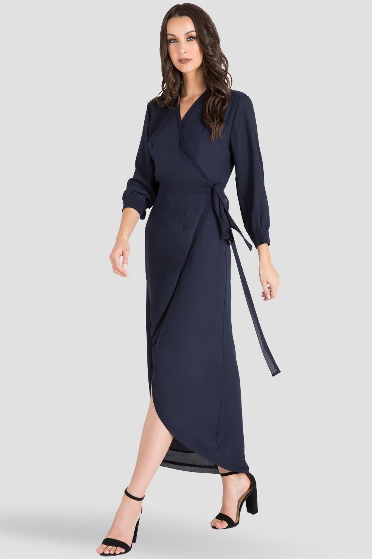 Women's Midnight Blue Tulip High Low Chiffon Wrap Dress Front
