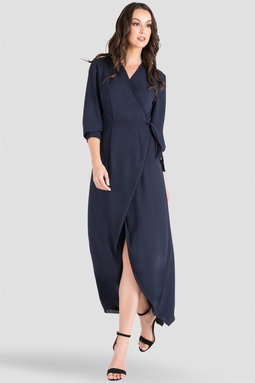 Standards & Practices Women's Midnight Blue V-Neck Kimono Wrap High-Low Dress