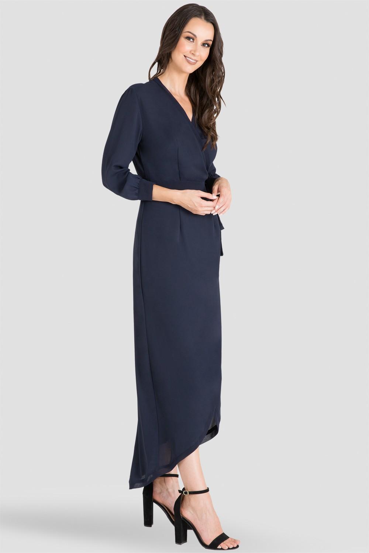 Women's Midnight Blue V-Neck Kimono Wrap High-Low Dress