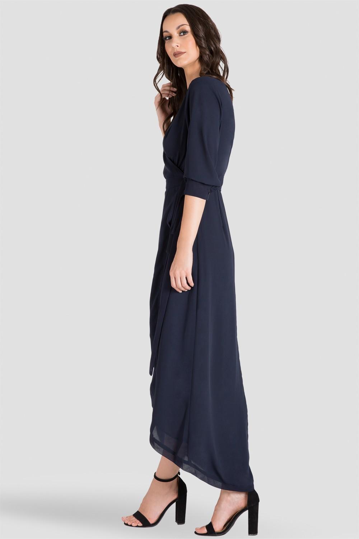 Elle Midnight Blue Tulip High Low Chiffon Wrap Dress Side