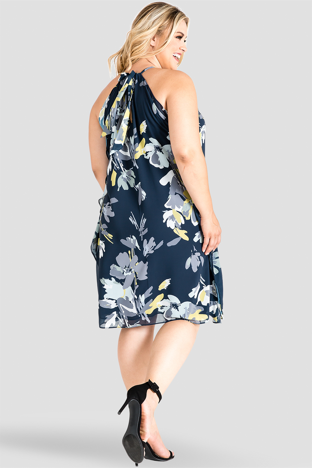 Standards & Practices Navy Floral Print Knee-Length Dress