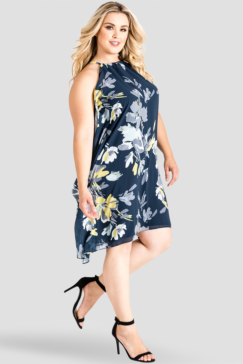 Standards & Practices Navy Floral Print Choker Dress