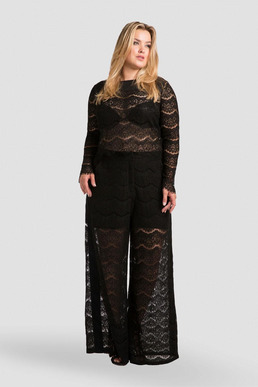 Plus Size Women Black Lace Skimmer Blouse