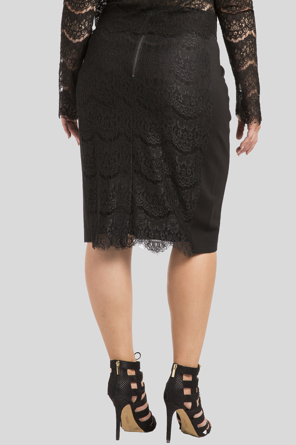 Plus size black lace and ponte pencil skirt
