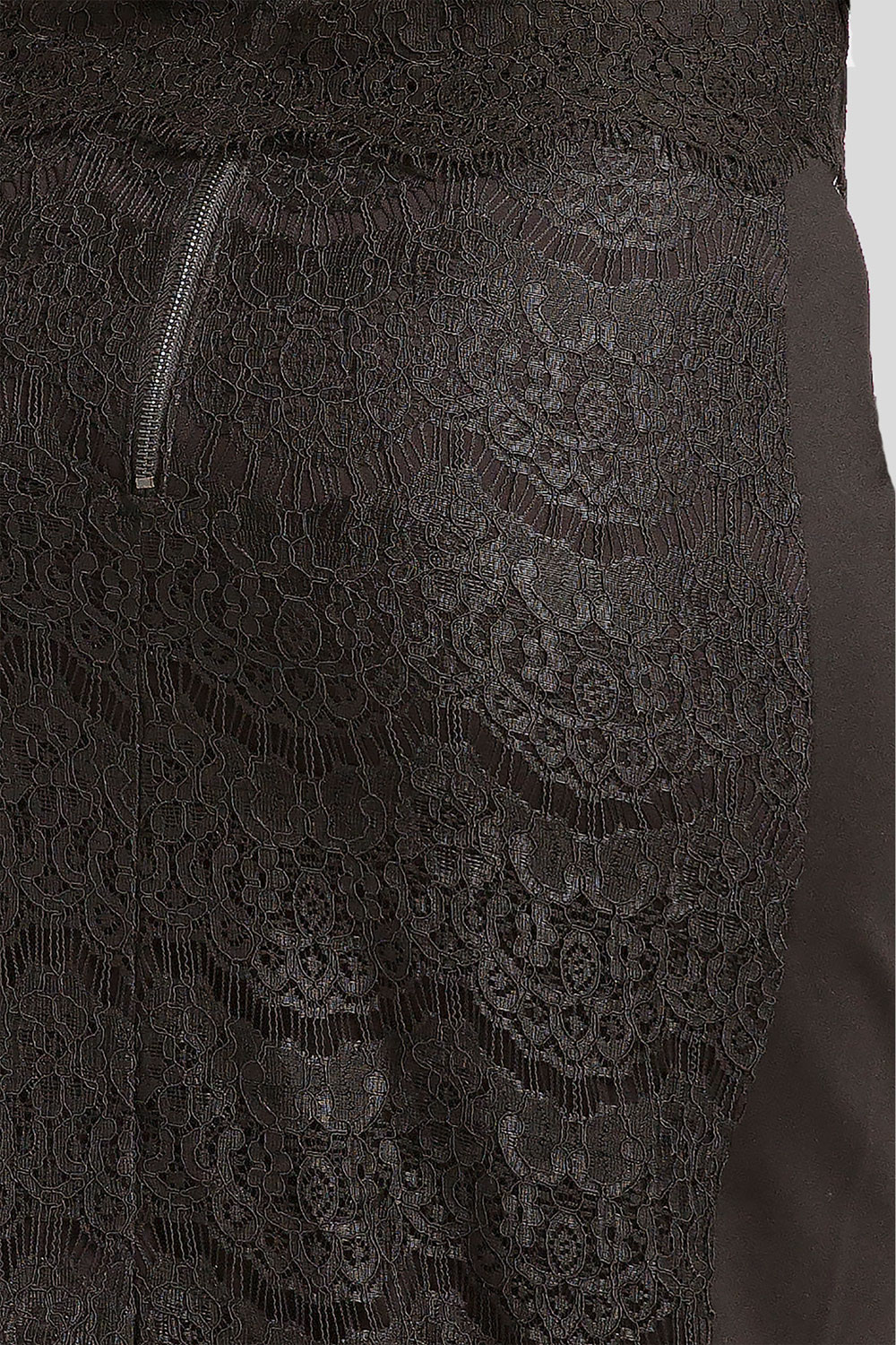 Plus size black lace pencil skirt