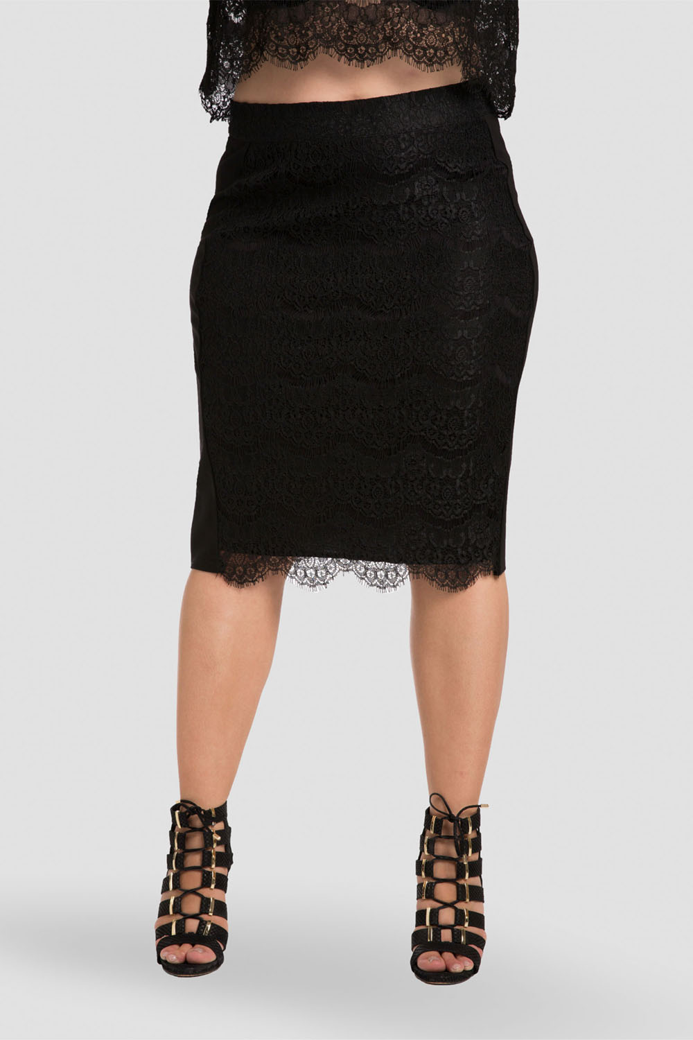 Women plus size black lace pencil skirt