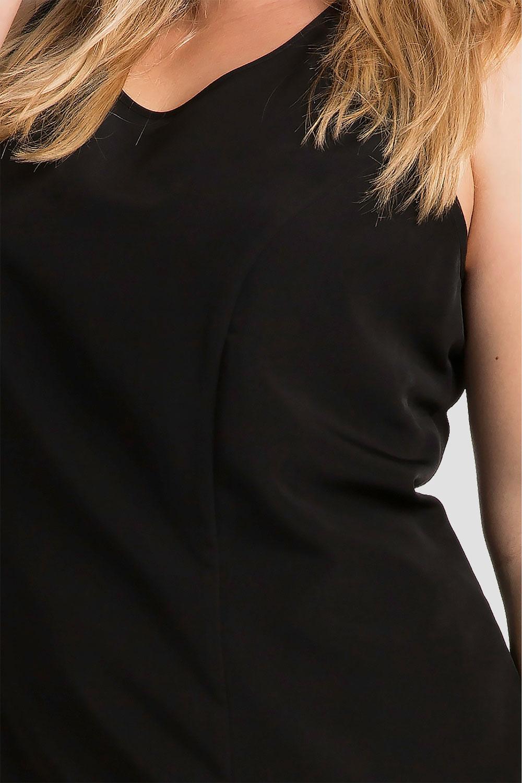 Plus size black maxi dress with illusion neckline