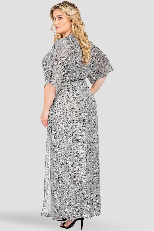Plus Size Black & White Tribal Print Long Wrap Dress Back