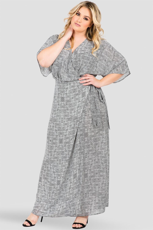 Plus Size Tribal Print Wrap Maxi Dress