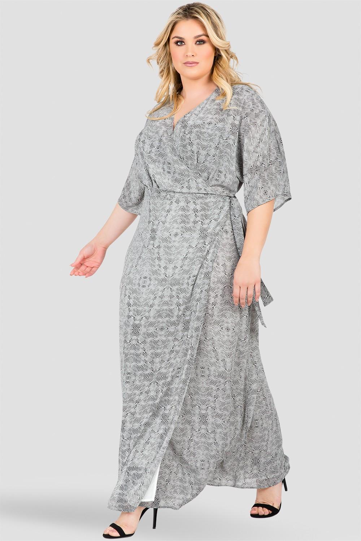 Plus Size Zibra Print Kimono Wrap Maxi Dress