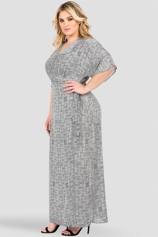Plus Size Black & White Tribal Print Long Wrap Dress