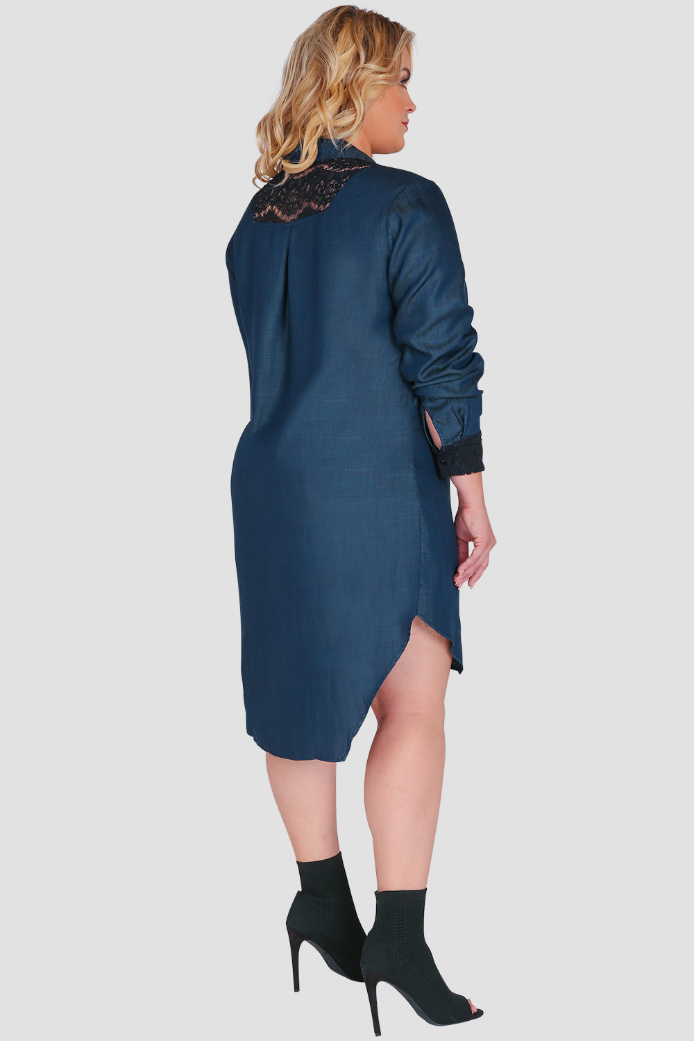 Standards & Practices Plus Size Women's Long-Sleeved Collared Denim Shirt Dress