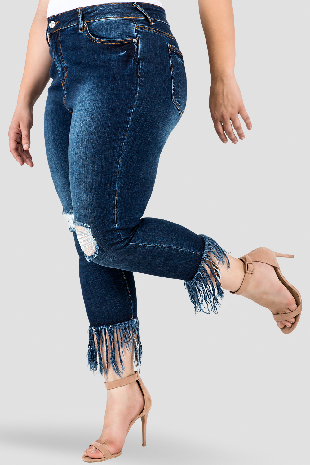 Plus Size Standards & Practices Women's Fringe Frayed Hem Distressed Indigo Stretch Jeans