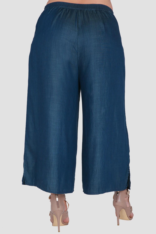 Standards & Practices Plus Size Women's Wide-Leg Indigo Denim Gaucho Pants
