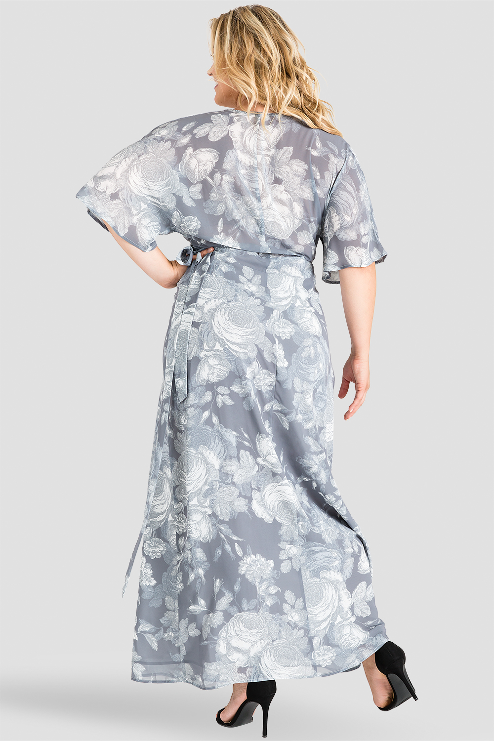 Plus Size Standards & Practices Gray Floral Print Kimono Chiffon Wrap Maxi Dress