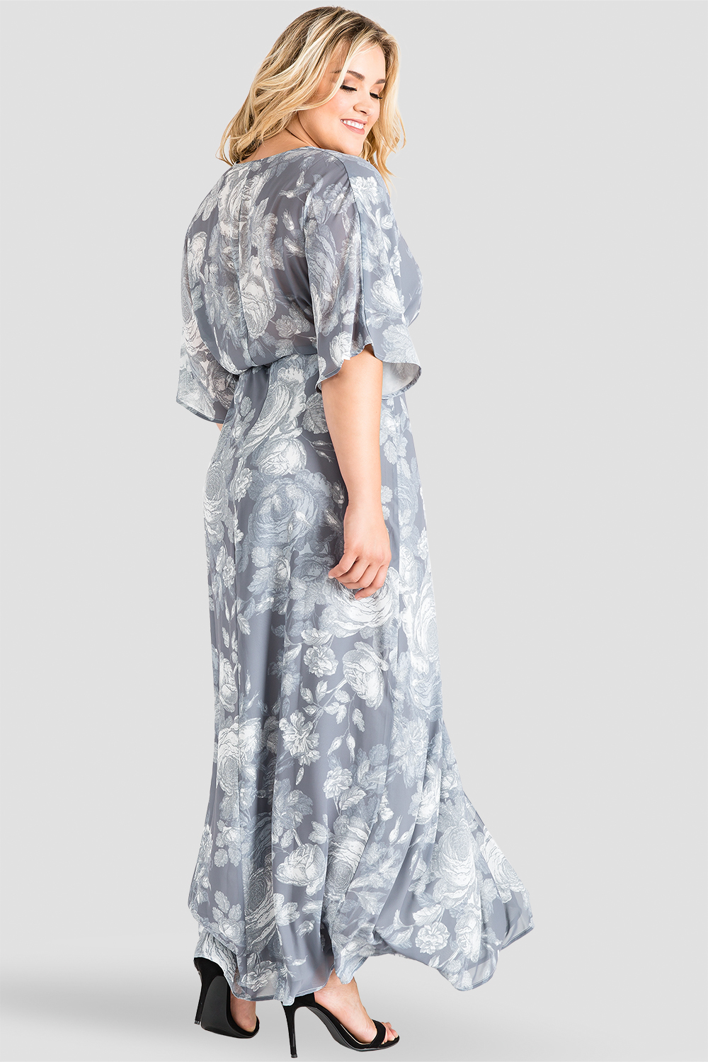 Plus Size Gray Floral Kimono Wrap Maxi Dress