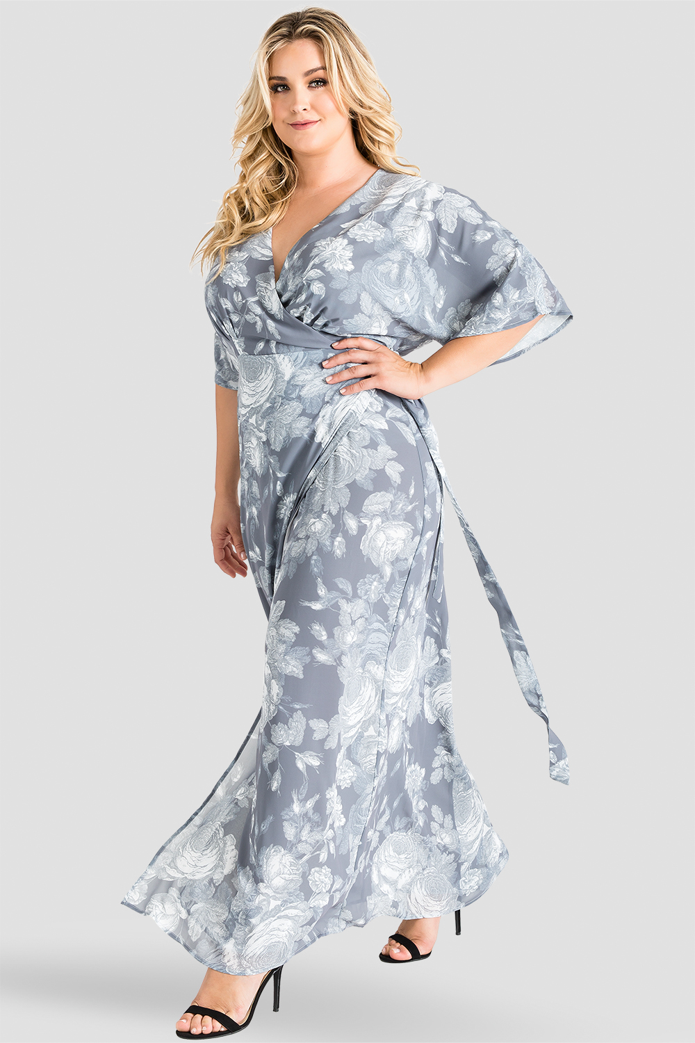Plus Size Standards & Practices Gray Floral Print Chiffon Kimono Wrap Maxi Dress