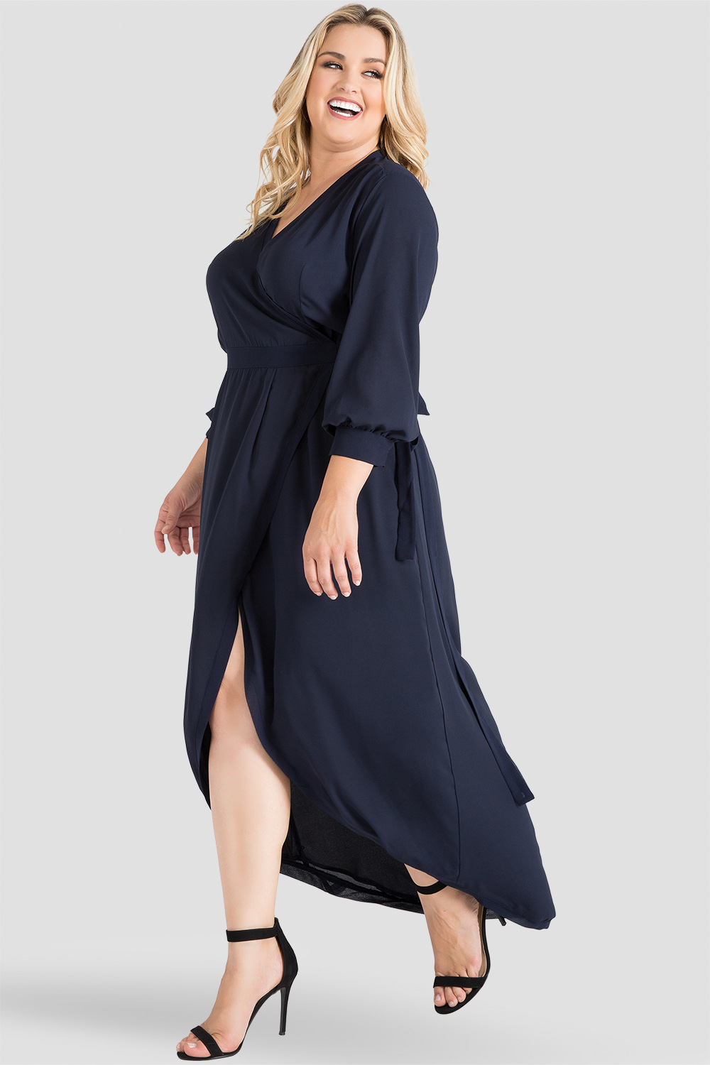 Plus Size Elle Midnight Blue Print Tulip High Low Chiffon Wrap Dress Side