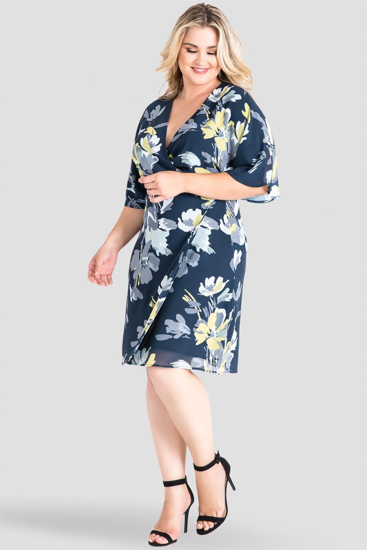 943becf2404 Plus Size Standards & Practices Navy Floral Knee Length Kimono Chiffon Wrap  Dress. now. 1/4