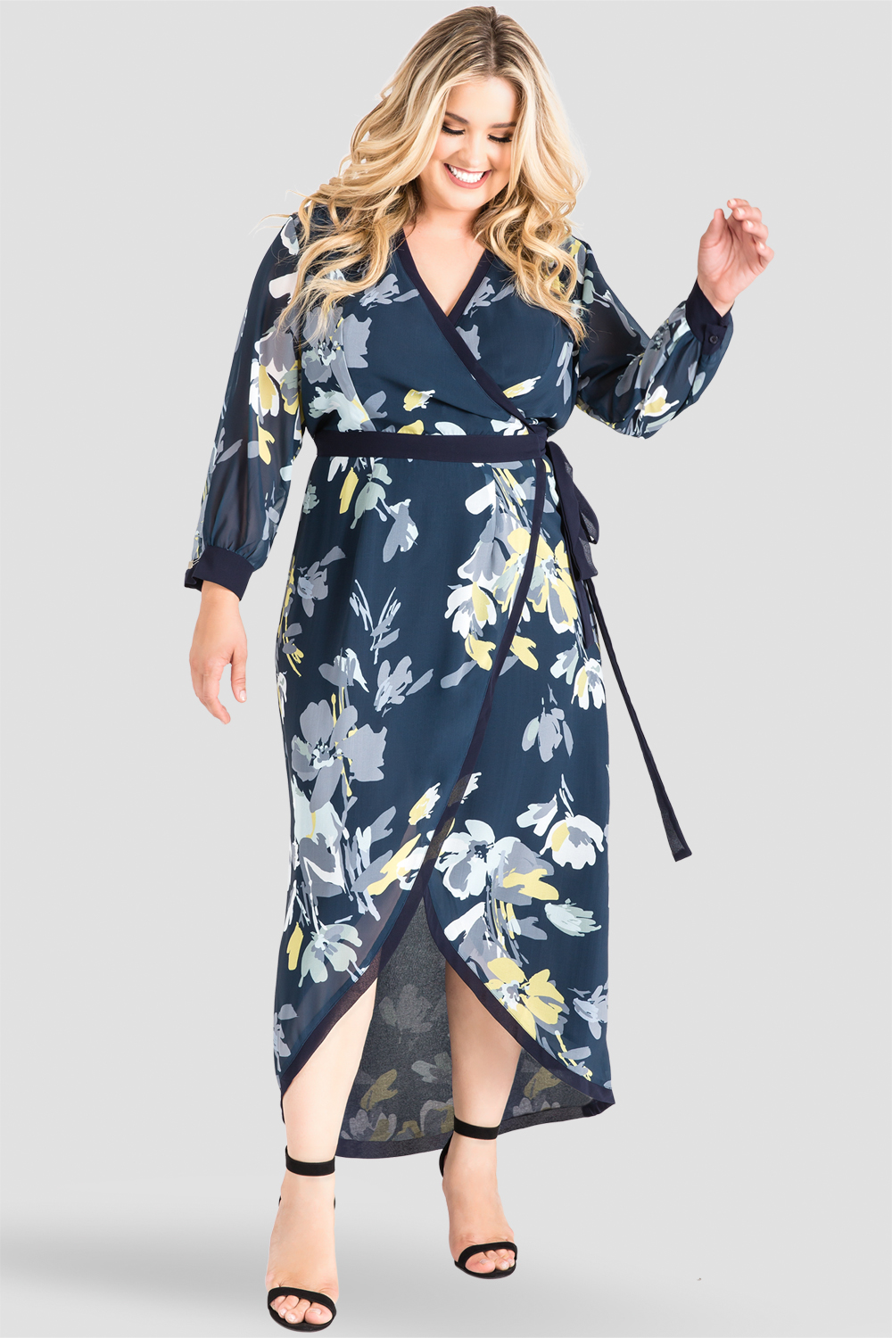 f0ad632f61c Plus Size Standards   Practices Women s Navy Floral Print Wrap High-Low  Dress. now. 1 4